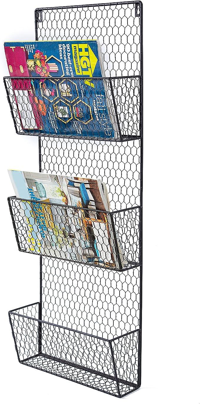 PAG Desktop Hanging Wall File Holder Mail Organizer Metal Chicken Wire Letter Sorter Magazine Literature Rack with 5 Hooks Black