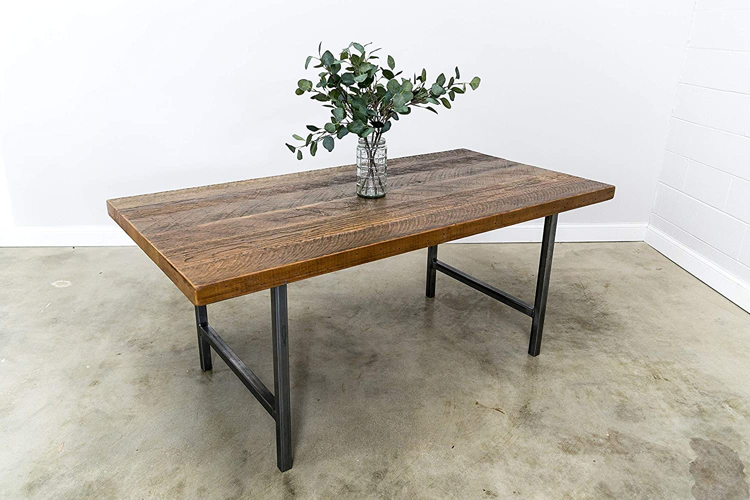 Amazon.com Urban Wood & Steel Dining Table with Narrow Base Style ...