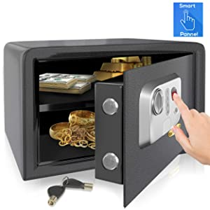 SereneLife Electronic Fingerprint Fire Lock Fireproof Digital Home Combination Box Steel Alloy Drop Safe Includes Keys, SLSFE18FP