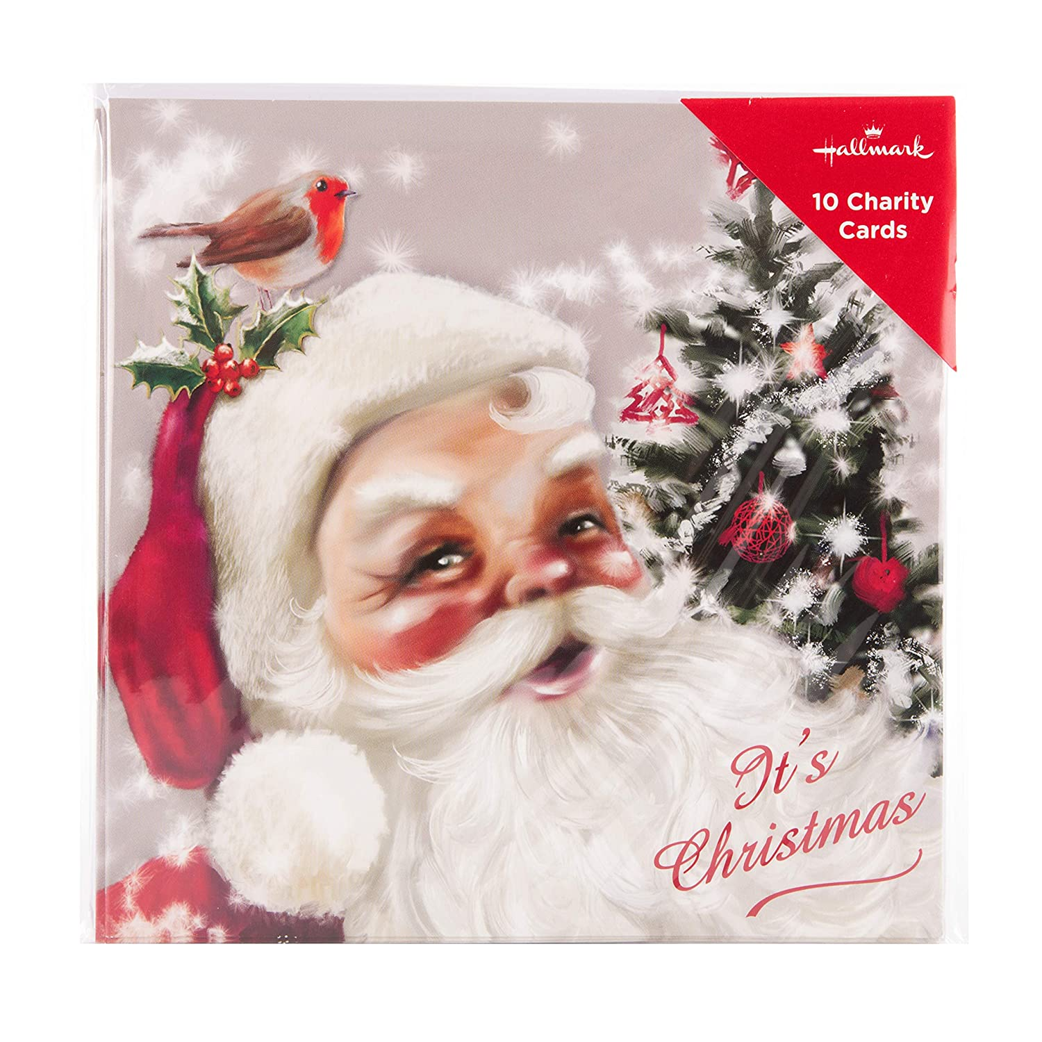 Pack of 10 in 1 Design Illustrated Santa Charity Christmas Cards from Hallmark
