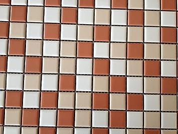 Mosaik Fliesen Keramikmosaik Mix Matt Weißcremeterracotta Matt - Mosaik fliesen terracotta
