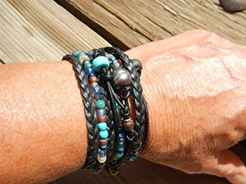 Free Shipping  Chunky Leather Wrap Bracelet  Boho Leather and Bead Bracelet  Silver Bead and Green Leather Wrap  Silver Button