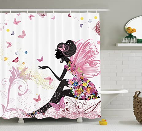 Girls Shower Curtain By Ambesonne, Pink Butterfly Girl With Floral Dress  Flower Fairy Angel Wings