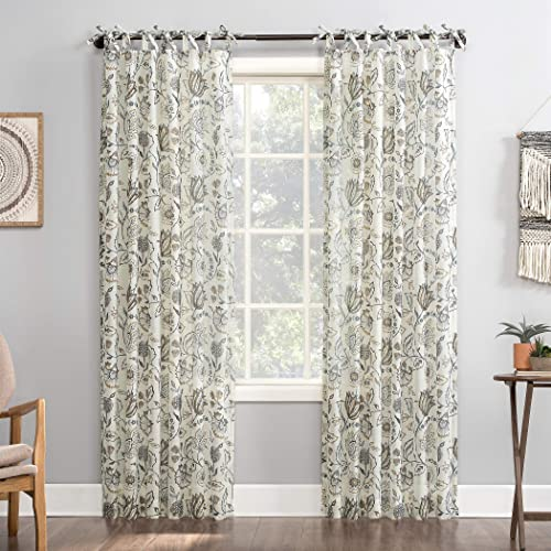 No. 918 Cielle 2-Pack Folk Floral Linen Blend DIY Crafted Sheer Tie Top Curtain Panel Pair