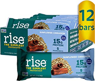 product image for Rise Pea Protein Bar, Sunflower Cinnamon, Soy Free, Paleo Breakfast & Snack Bar, 15g Protein, 5 Natural Whole Food Ingredients, Simplest Non-GMO, Vegan, Gluten Free, Plant Based Protein, 12 Pack