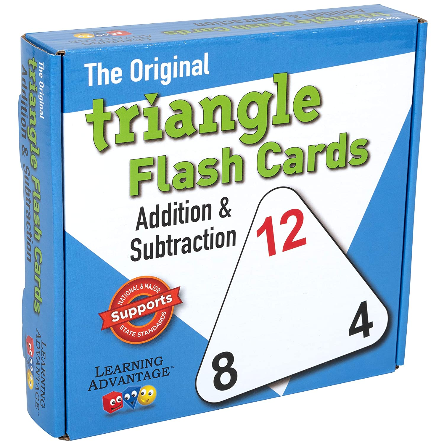 LEARNING ADVANTAGE Original Triangle Flash Cards - Addition and Subtraction - Set of 20 - in-Home Learning - Math Flash Cards