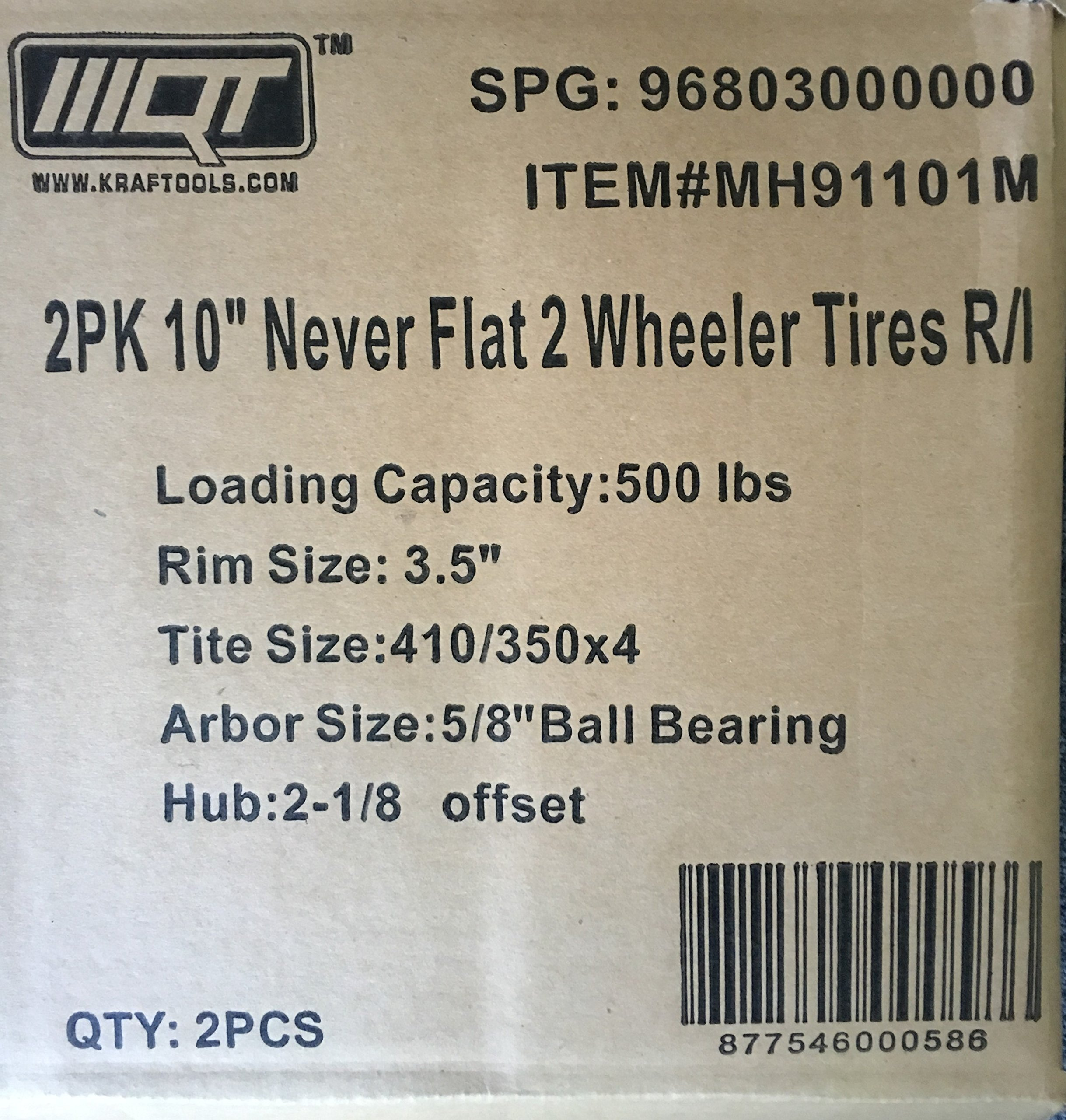 New Pair of 500LB Non Flat Tires, Hand Truck / All-Purpose Utility Tire on Wheel, 2 1/8'' Offset Hub, 5/8'' Bearings by MQT (Image #3)