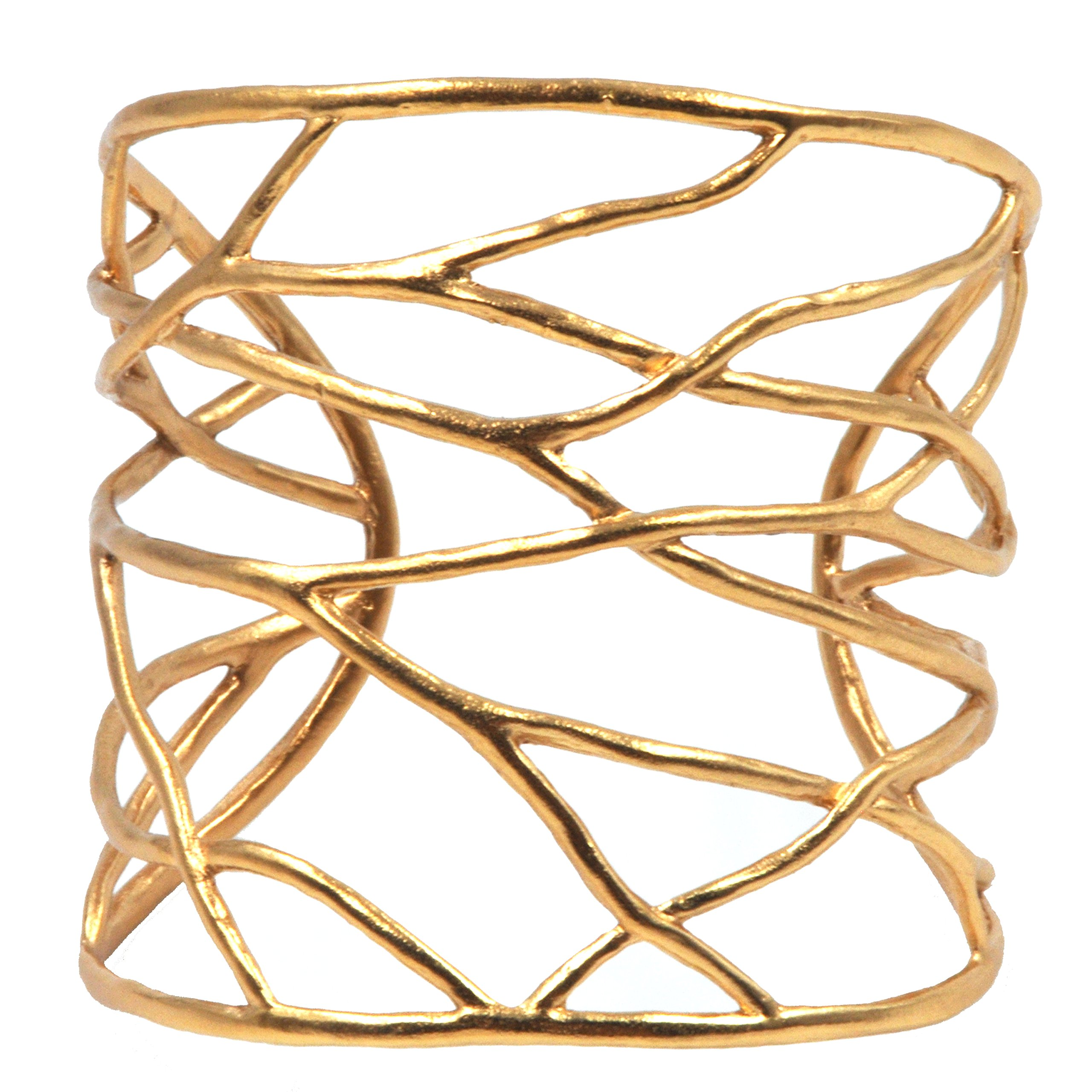 Intricate Branches Cuff Bracelet, Nature Inspired Eco Chic Designs by Mercedes (Gold, Large)