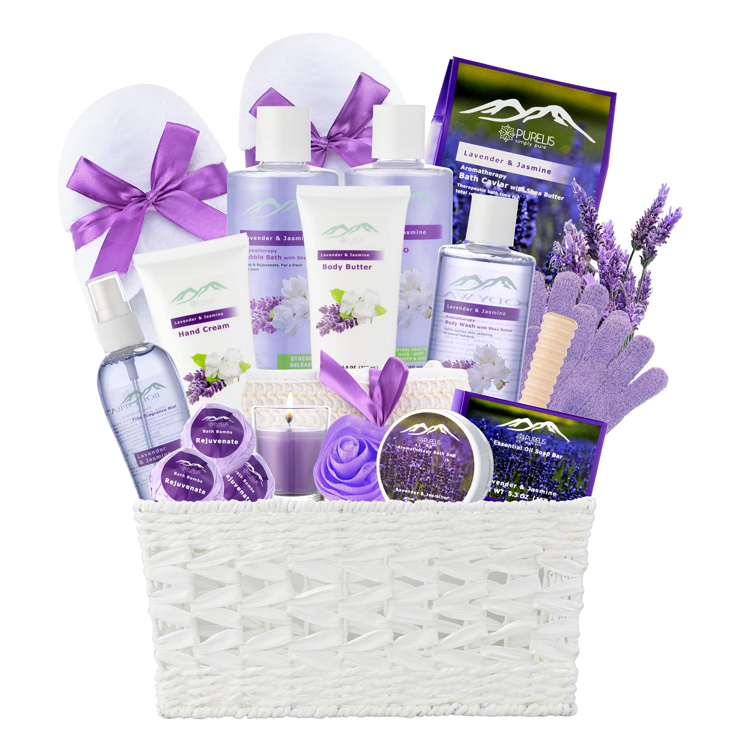 Jasmine Lavender Bath Gift Basket for Women! XL Spa Gift Basket for Relaxing at Home Spa Kit. Purelis Aromatherapy Bath Sets for Women are the #1 Choice in Spa Baskets and Womens Gift Baskets by Purelis