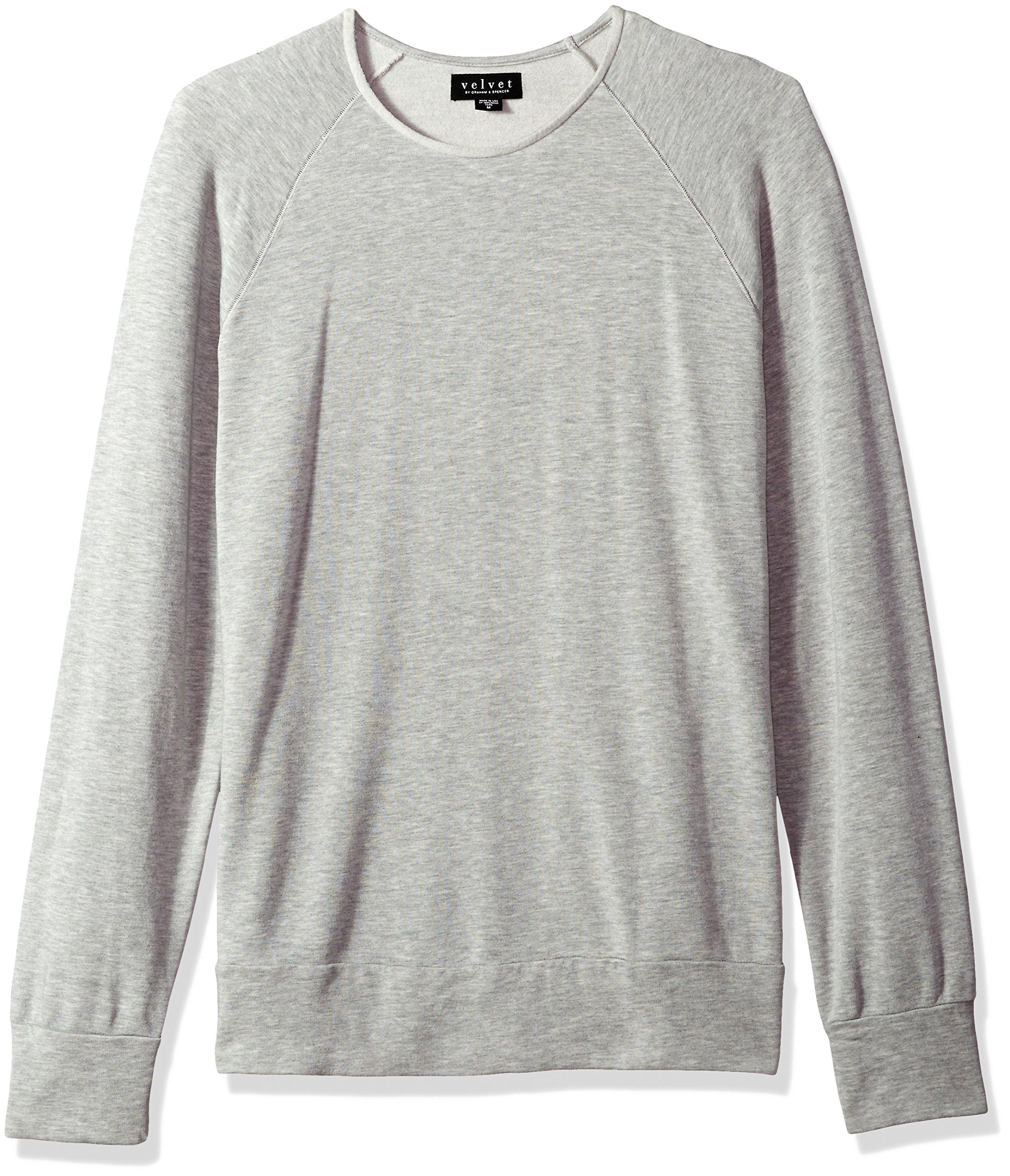 VELVET BY GRAHAM & SPENCER Men's Ovid Long Sleeve Sweater, Heather Grey, Small