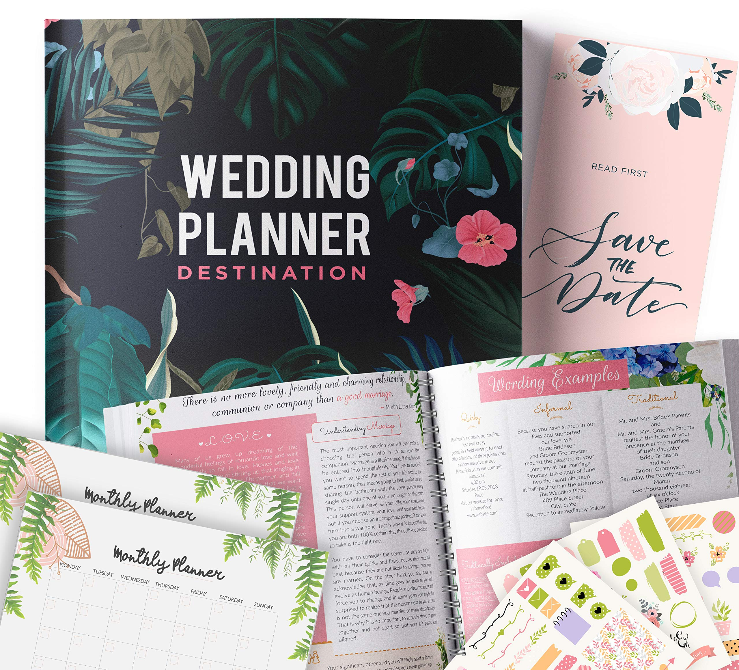 Destination Wedding Planner | Step-By-Step Binder to Organize Your Dream Day Using Stickers, Photos & Pictures | Journal For Organizing a Wedding by Yourself | Gift for Brides | by Floating Daydreams