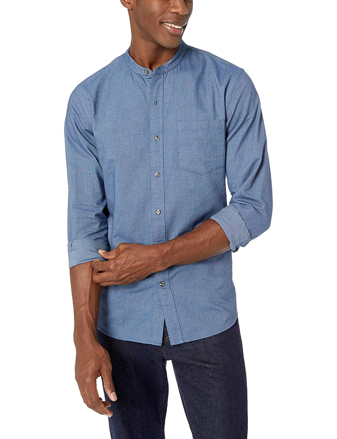 1920s Men's Dress Shirts, Casual Shirts Amazon Brand - Goodthreads Mens Standard-Fit Long-Sleeve Band-Collar Oxford Shirt $25.00 AT vintagedancer.com