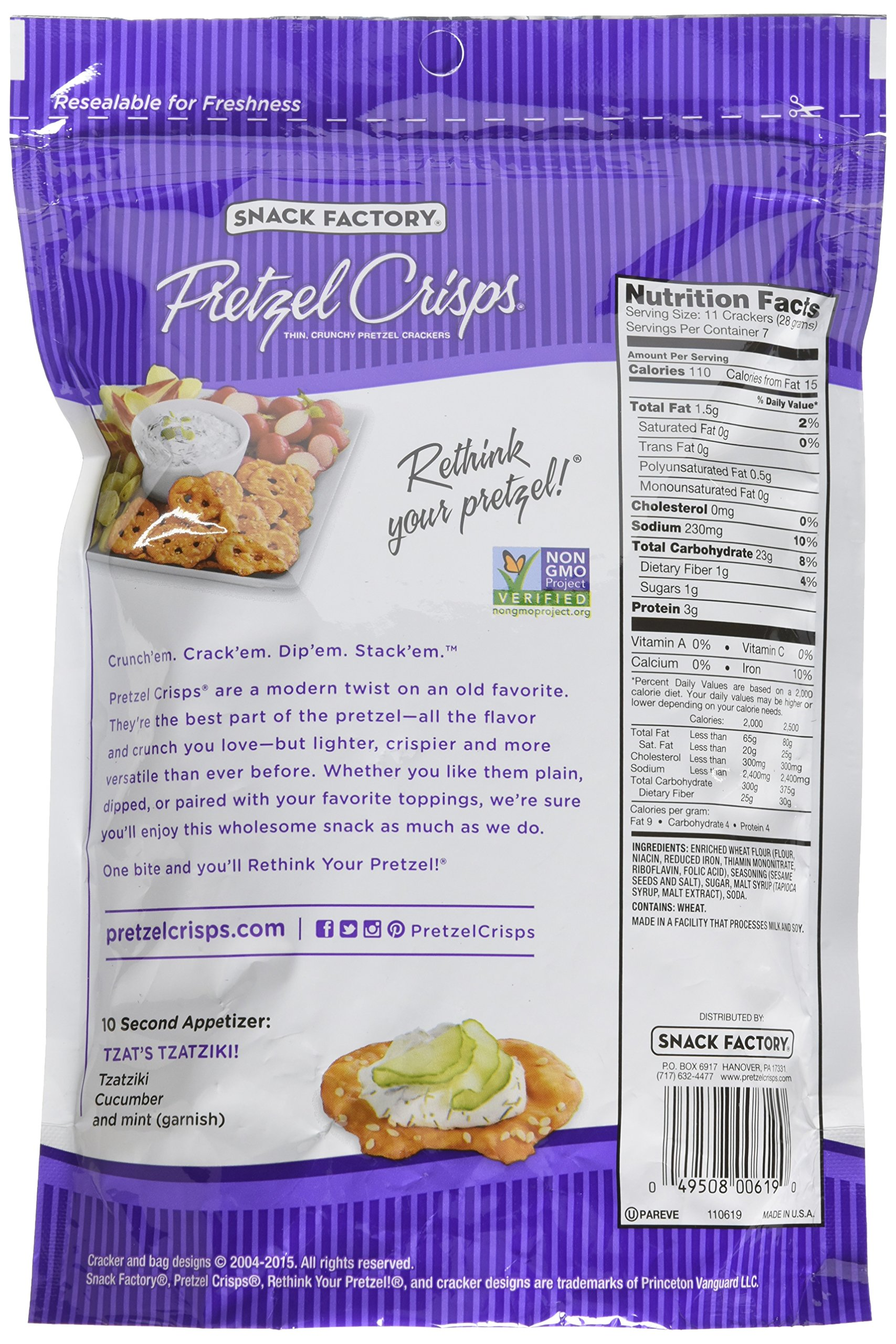 Snack Factory Pretzel Crisps Deli Style Sesame All Natural, 7.2 Ounce by Snack Factory (Image #4)
