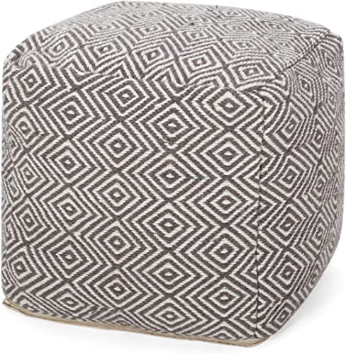 Christopher Knight Home Riley Hand-Loomed Boho Fabric Cube Pouf