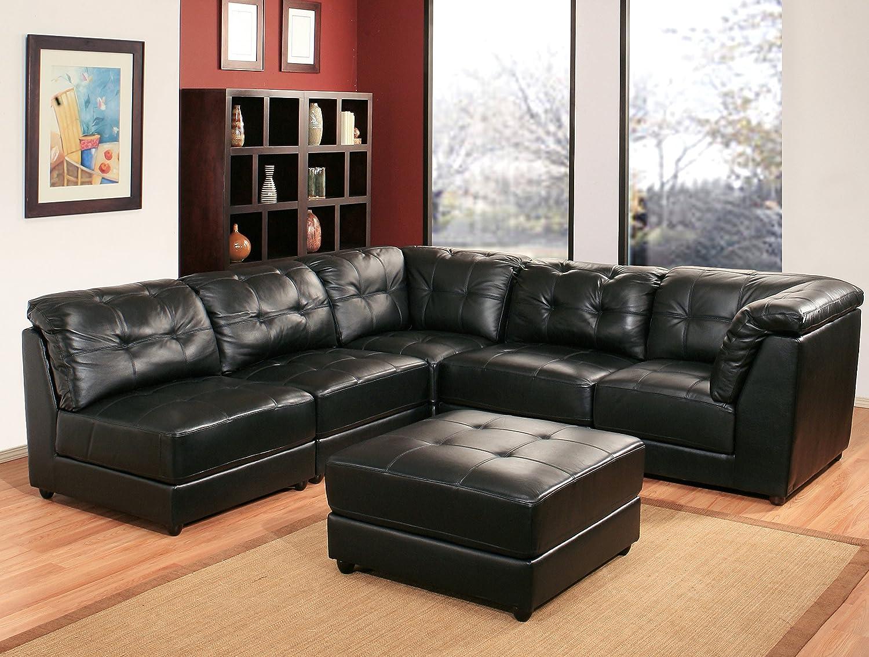 Amazon: Abbyson Donovan 5piece Modular Leather Sectional Sofa, Black:  Home & Kitchen