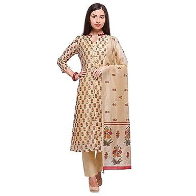 78fc73d4c4 Bhelpuri Cream Pure Cotton Semi-stitched Kurta with Bottom and Dupatta:  Amazon.in: Clothing & Accessories