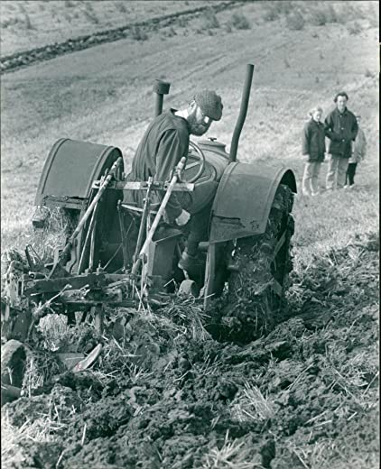 Vintage photo of Ploughing with a vintage machine at Brampton