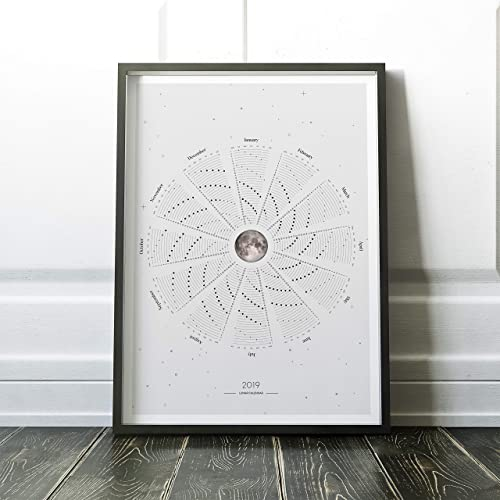 photograph relating to Moon Phase Printable titled : Lunar Calendar, Every year Calendar of 2019, 2019