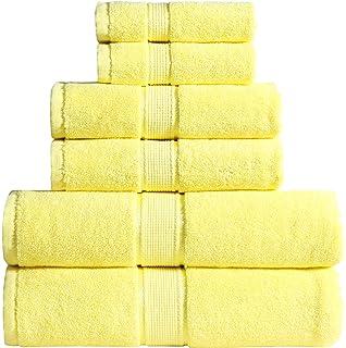 Wicker Park 600 GSM Ultra Soft 100% Cotton 6 Piece Towel Set (Yellow)
