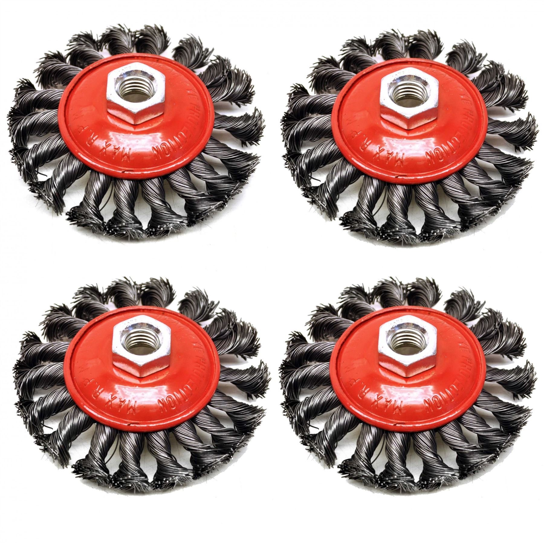 4 PACK Twist Knot Wire Brush / Wheel 115mm for Angle Grinder TE242