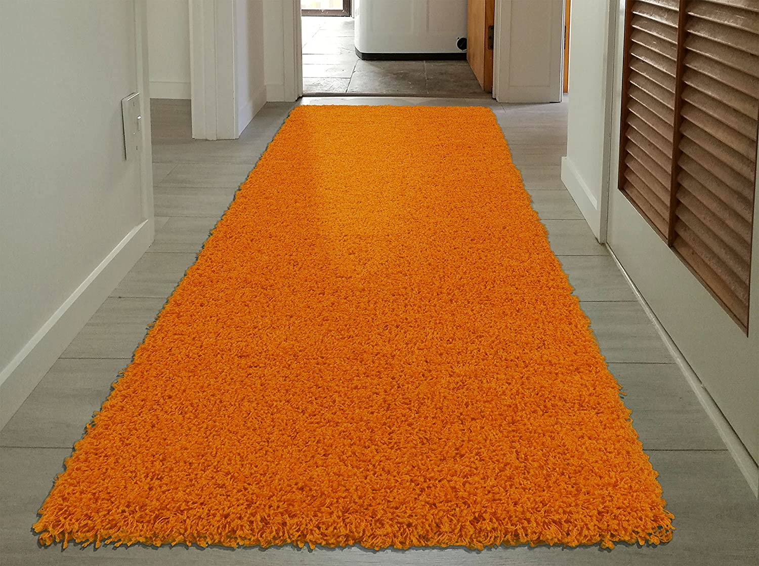 Sweet Home Stores Cozy Shag Collection Orange Solid Shag Rug (2'7 X 8'0) Contemporary Living and Bedroom Soft Shaggy Runner Rug Sweethome Stores COZY2761-3X8