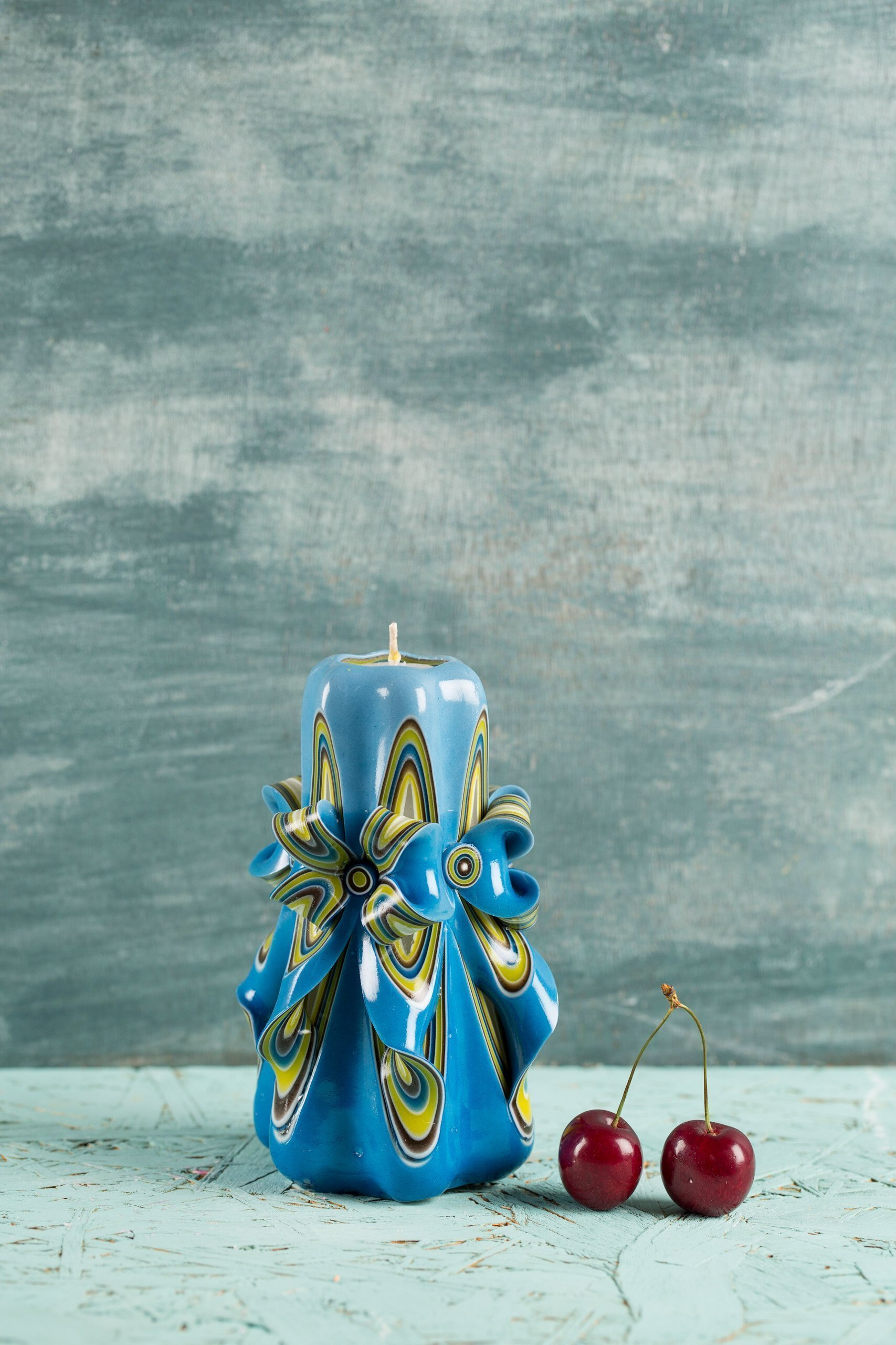 Candle set - Blue and Yellow - Bright colors - Decorative carved candle - EveCandles by EveCandles (Image #3)