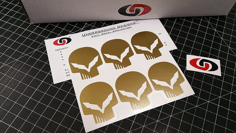 Amazon com c7 mini skull decal corvette jake skull sticker z06 z07 lt1 lt4 select color gloss black automotive