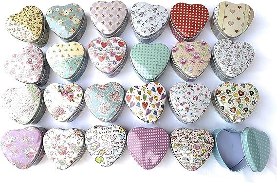 Juego de 24 cajas de lata, modelo de corazón,24 adornos,7,5 x 7 cm ...