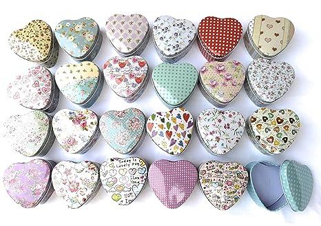 Juego de 24 cajas de lata, modelo de corazón,24 adornos,7,