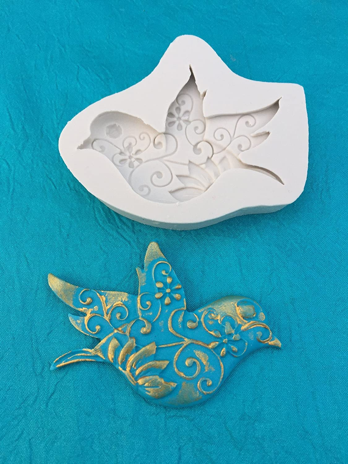 Dove Bird with Intricate Swirl Design Silicone Mold Great for Polymer Clay