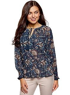 oodji Collection Mujer Blusa Estampada con Borlas y Gomas