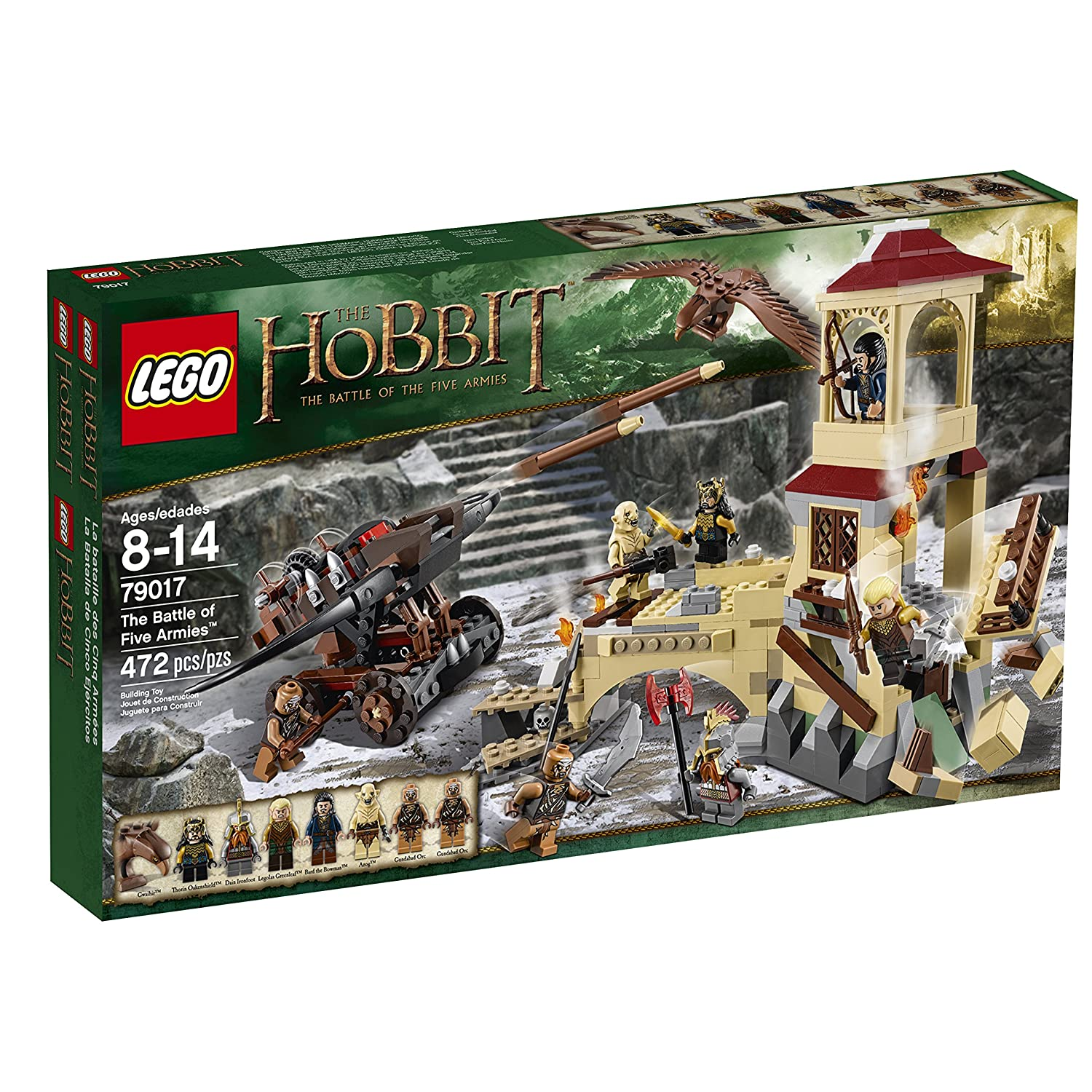 LEGO Hobbit 79017 The Battle of Five Armies Includes 7 minifigures with assorted weapons and accessories: Thorin Oakenshield, Dain Ironfoot, Legolas Greenleaf, Azog, Bard the Bowman and 2 Gundabad Orcs, plus a Gwaihir figure.