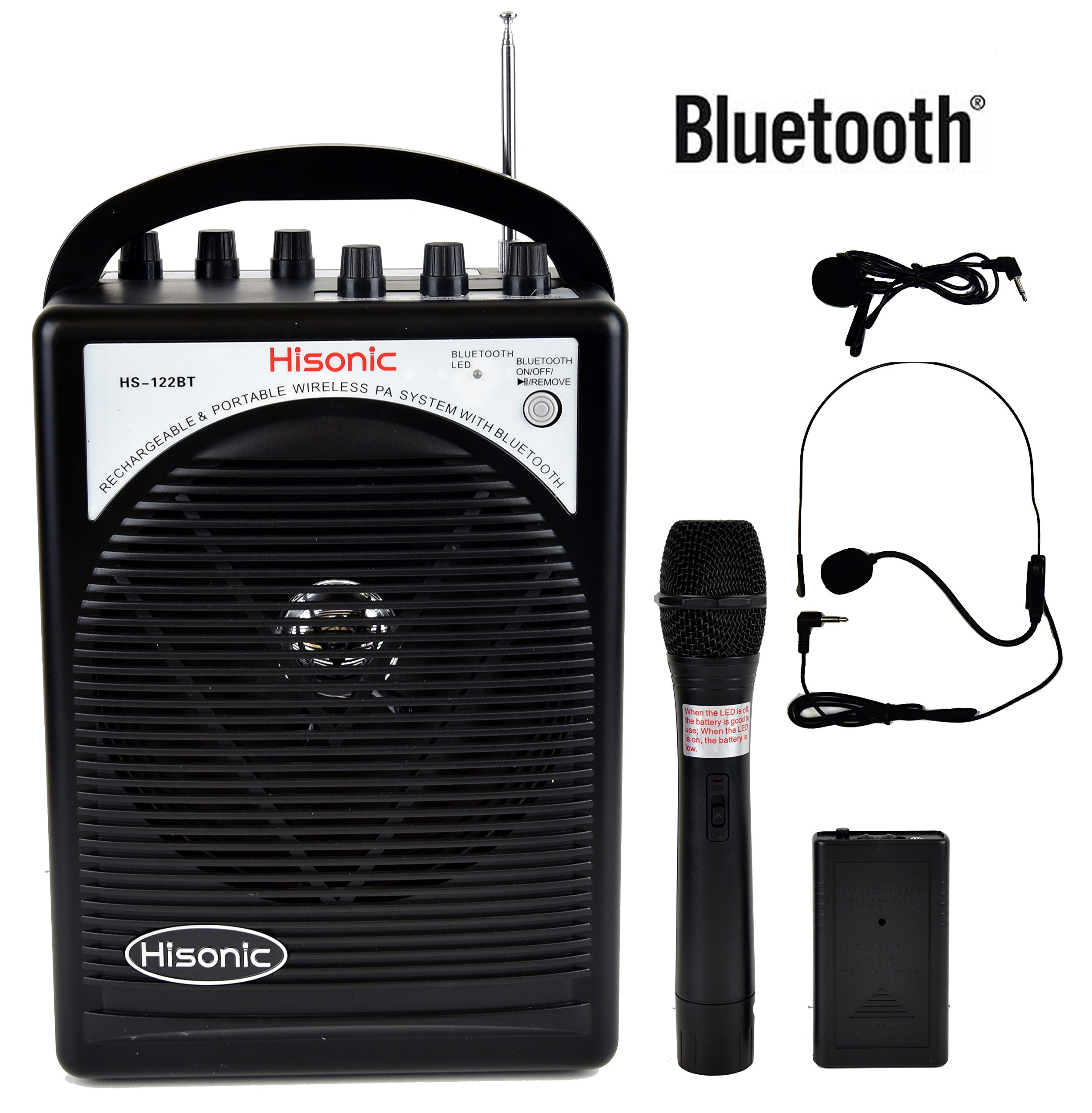 Hisonic HS122BT-HL Portable and Rechargeable PA System with Dual Wireless Microphones & Bluetooth Connection by Hisonic