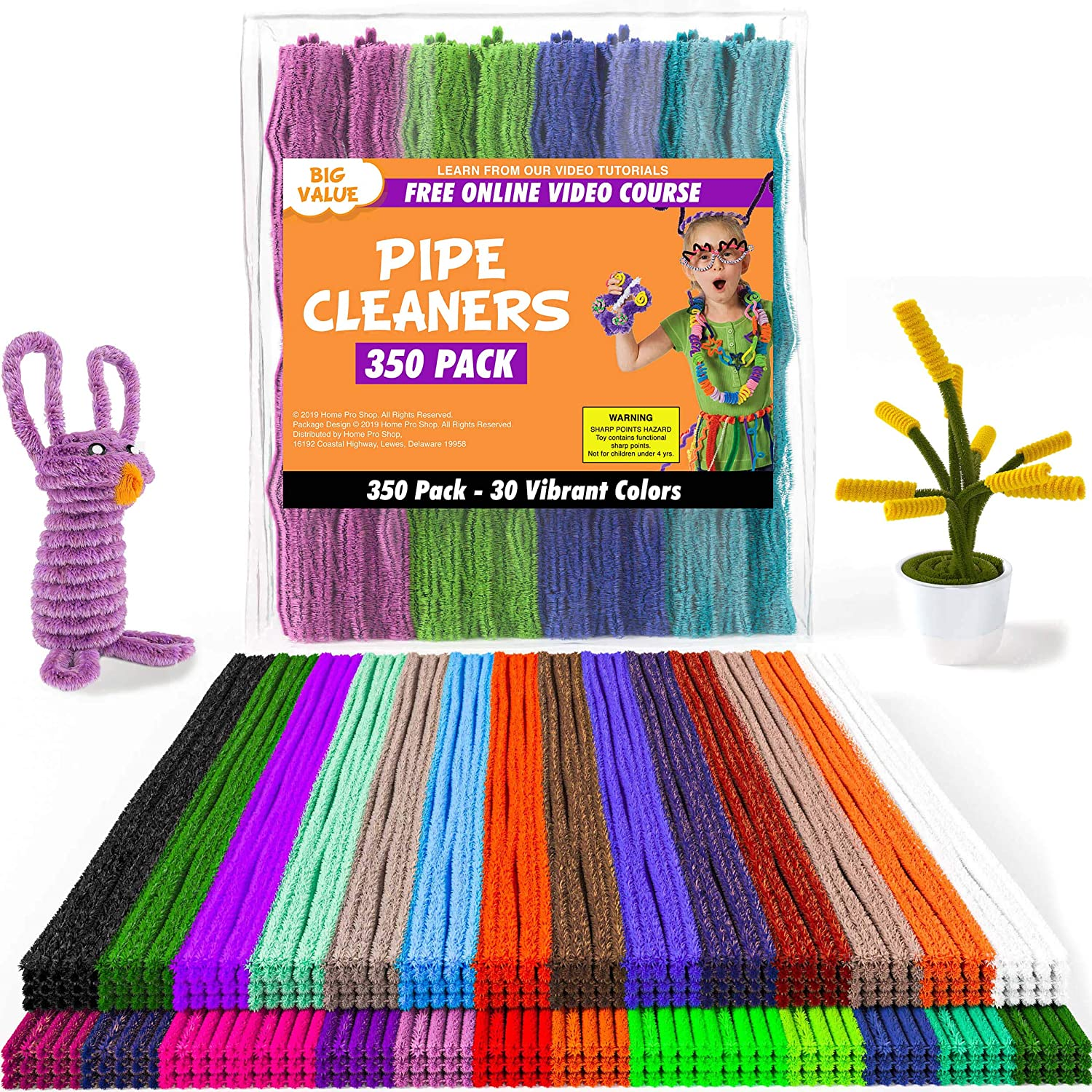 Anvin Pipe Cleaners 100 Pcs 10 Colors Chenille Stems for DIY Crafts Decorations Creative School Projects 6 mm x 12 Inch, Assorted Bright Colors