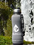 NEW 2018 Eco Stainless filter water bottle 750ml/ 1600 litre with 'Storm Grey' insulator protector