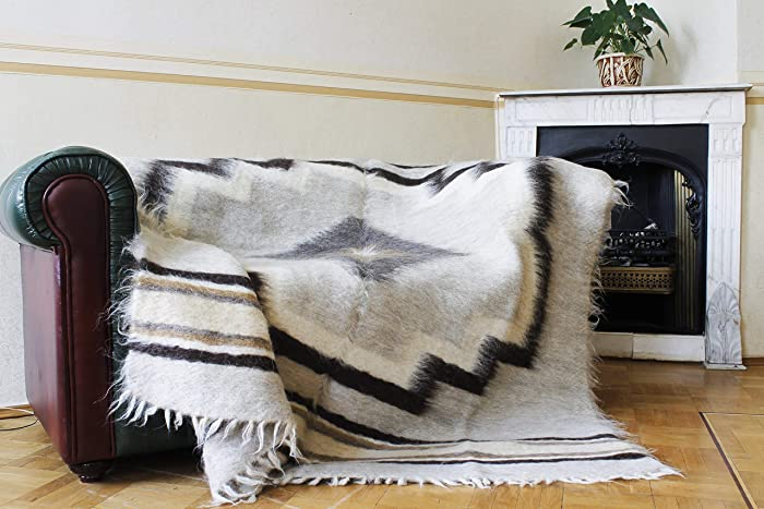 Throw Blanket for Couch Wool Bedspread Hand Woven Large Plaid Sofa Cover  Rustic Home Decor