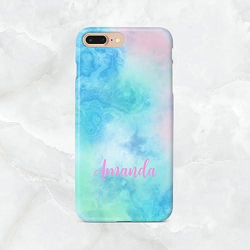 premium selection 94eec 20f18 Amazon.com: Blue Aqua Marble Monogram Phone Case - Custom iPhone ...