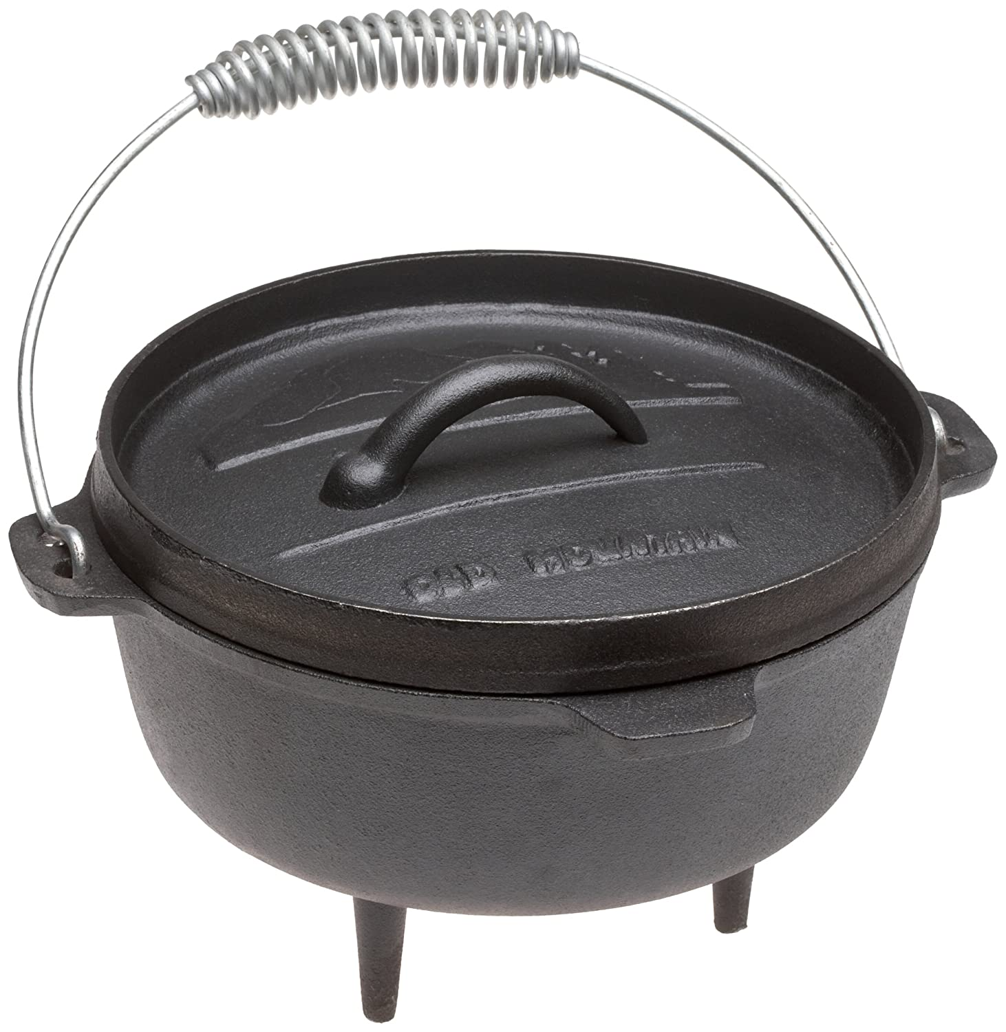 Old Mountain Pre Seasoned 10113 2 Quart Camp Oven with Flanged Lid, Feet and Spiral Bail Handle
