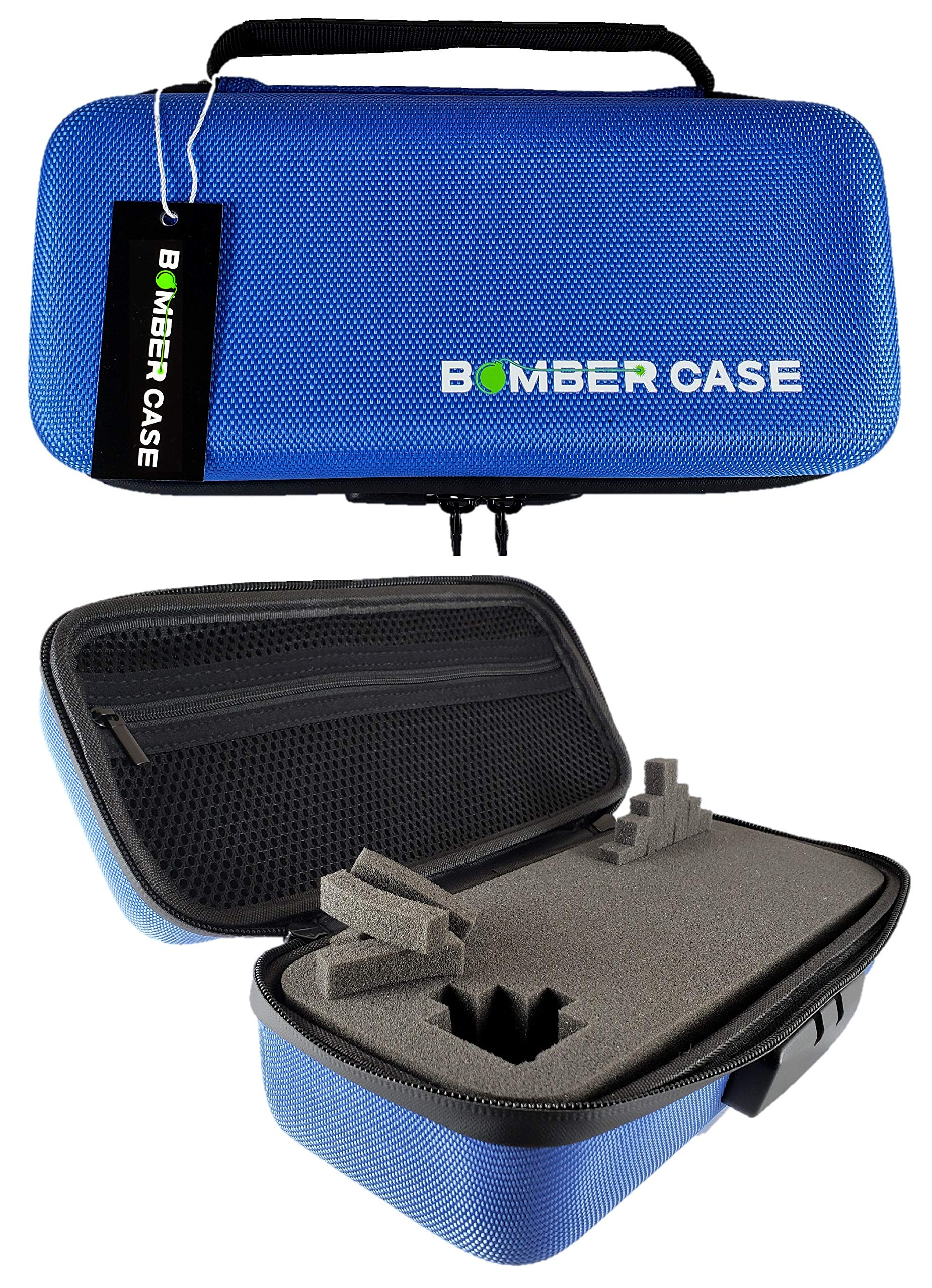 BOMBER CASE - Combination Lock Box - Smell Proof Case - Stash Case - Customizable Foam Interior - Flexible Construction and Odor Proof Zipper with Combo Lock - Safe Container - 9.5'' x 4'' x 3.5'' - Blue