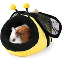 JanYoo Chinchilla Hedgehog Guinea Pig Bed Accessories Cage Toys House Supplies Habitat Ferret Rat (S, Bee)