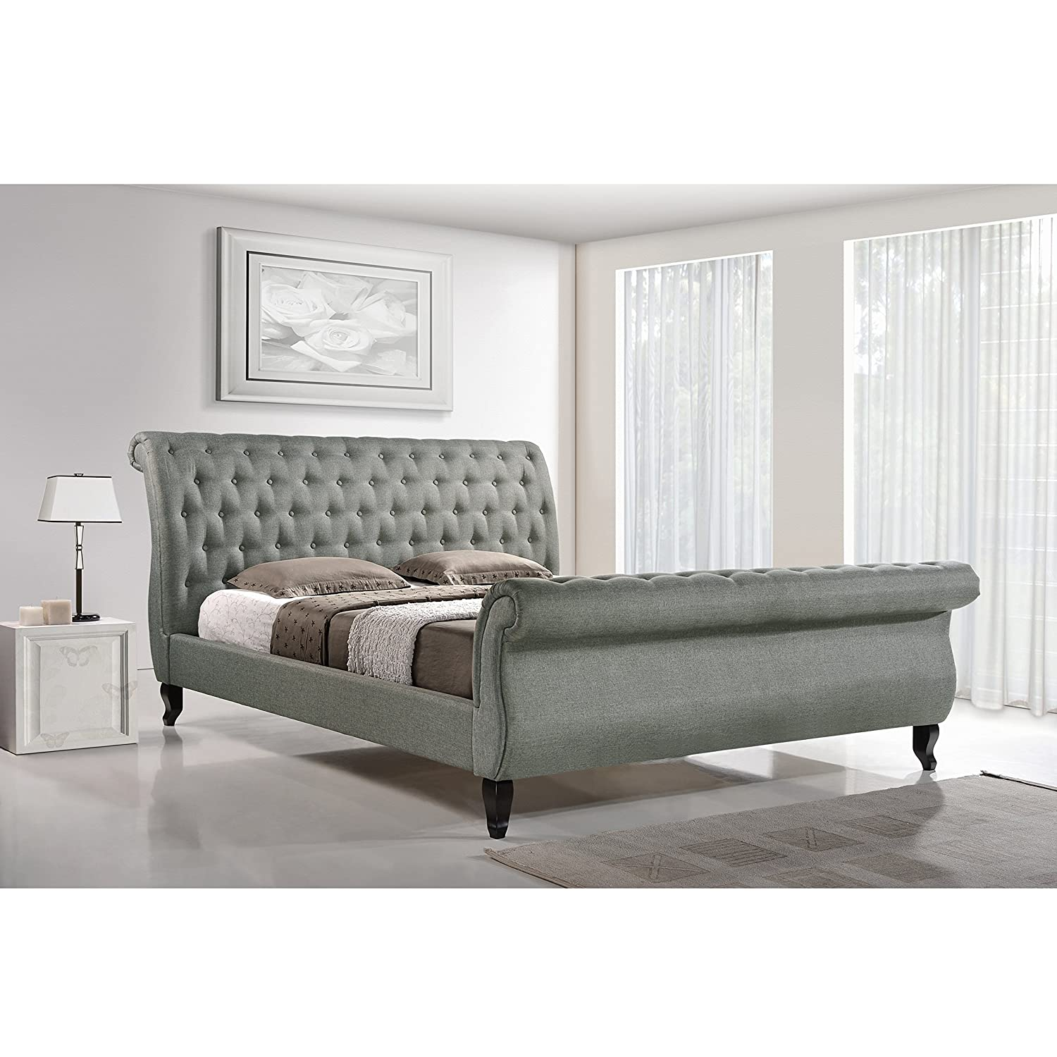 Design Modern Sleigh Bed amazon com baxton studio antoinette modern platform bed queen grey kitchen dining
