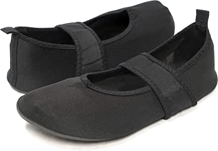 Nufoot Womens Futsole by Nufoot Women's Shoes, Best Soft Flats, Foldable & Flexible Shoe for Sport, Exercise, Yoga or Travel, Dance Shoes, Black, Small 2239-P