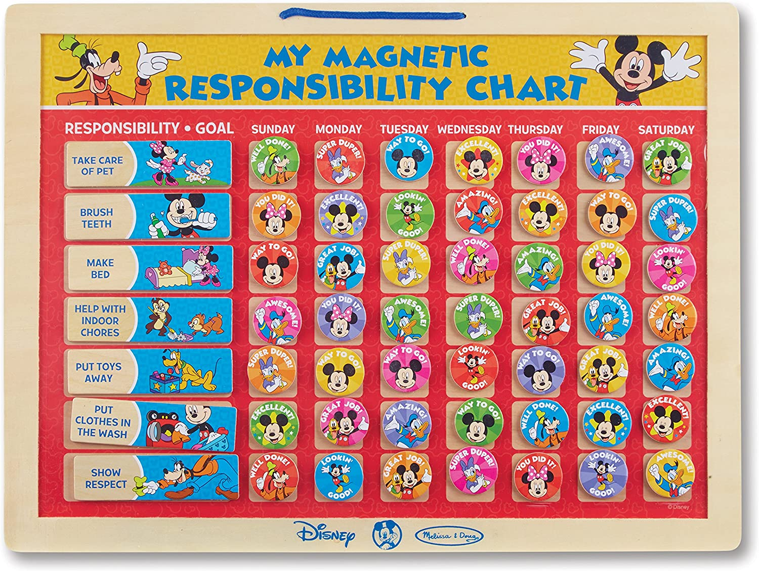 "Melissa & Doug Disney Mickey Mouse Magnetic Responsibility Chart, Developmental Toys, Encourages Good Behavior, 90 Pieces, 15.6"""" H x 11.7"""" W x 1.2"""" L"