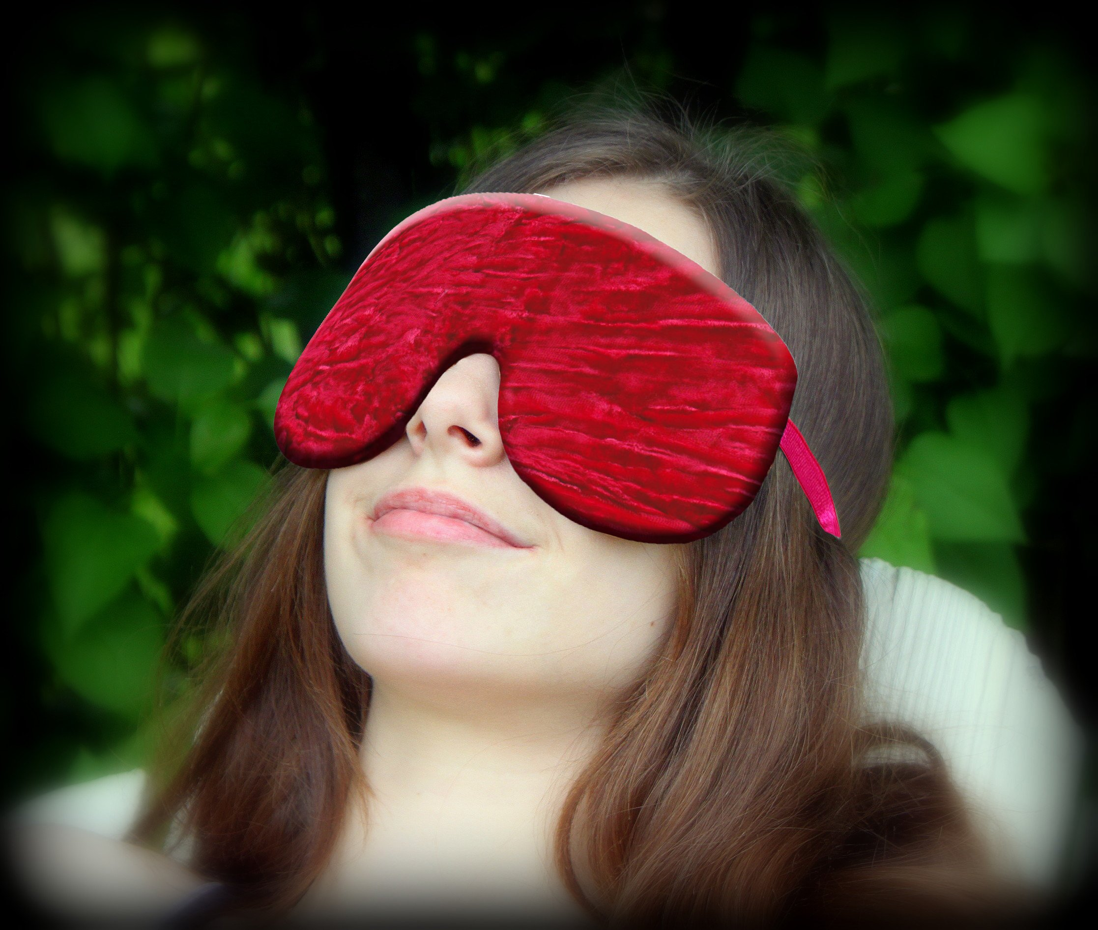 Weighted Sleep Eye Mask Pillow Handmade by Candi Andi - Adjustable Strap - Travel - Flax Seed Fill - Microwavable - Crushed Velvet - Lavender Scented or Unscented - Cherry - TEMVFL-CH