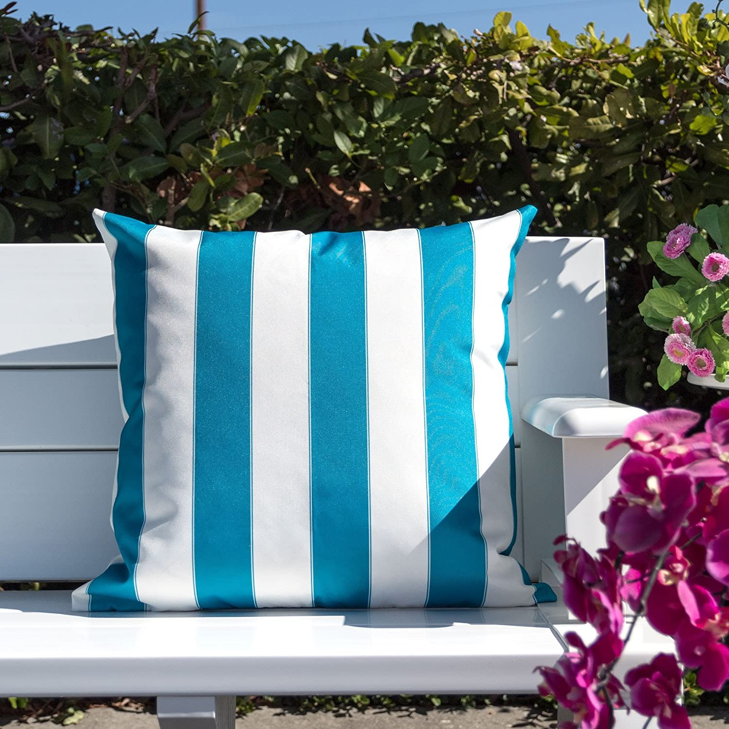 Homey Cozy Outdoor Throw Pillow Cover Classic Stripe Aqua Blue Large Pillow Cushion Water//UV Fade//Stain-Resistance For Patio Lawn Couch Sofa Lounge 20x20 Cover Only