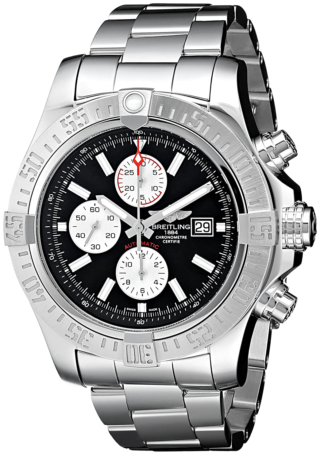 Breitling Men s BTA1337111-BC29SS Super Avenger II Analog Display Swiss Automatic Silver Watch