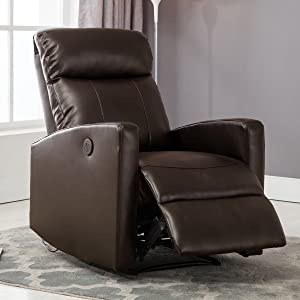 Christies Home Living Modern Leather Infused Small Power Reading Recliner Chair with USB Port, Brown
