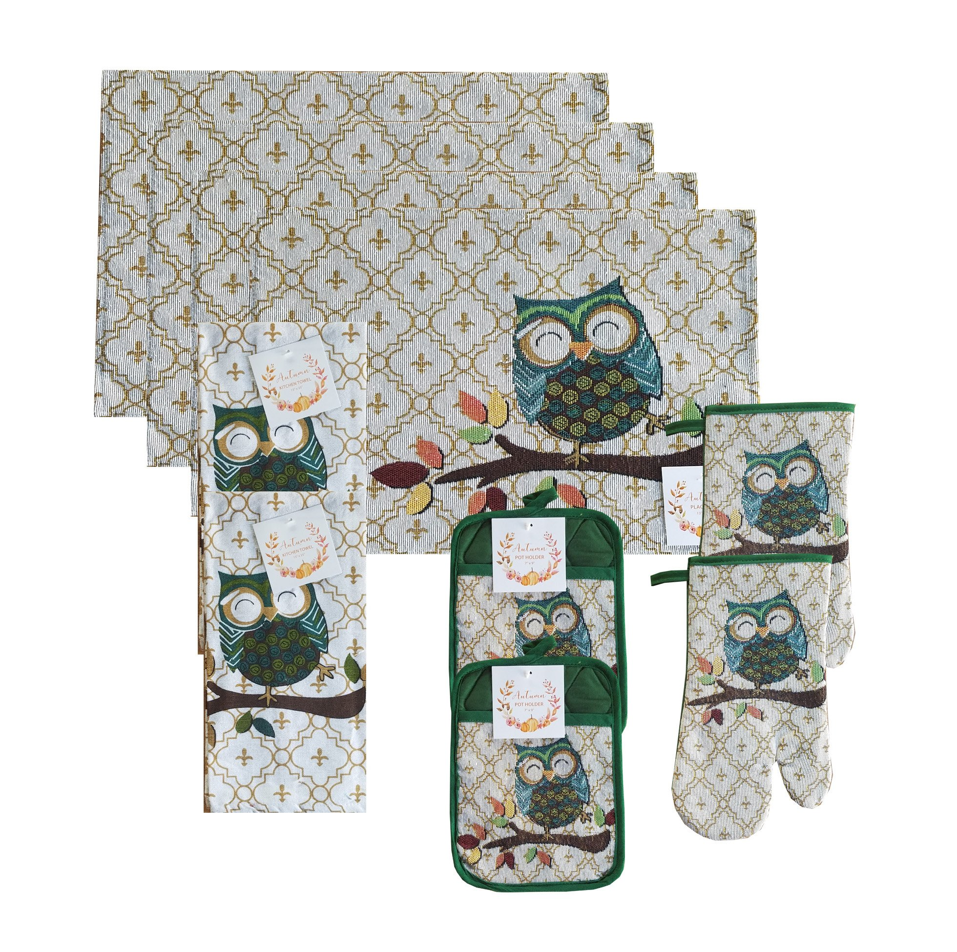 Owl Deluxe Kitchen Linen Set- 4 Placemats, 2 Towels, 2 Pocket Potholder, and 2 Oven Mitt Tapestry 10 Piece Set