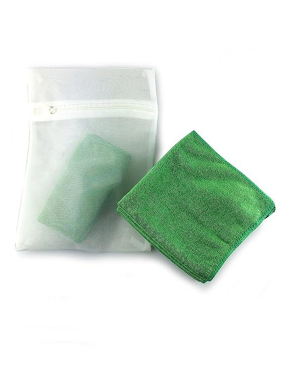 Productos Viridis - Paquete de 5 de coche verde y exterior de microfibra paños - completa con libre de malla bolsa de lavado - pelusa tela - limpia y ...