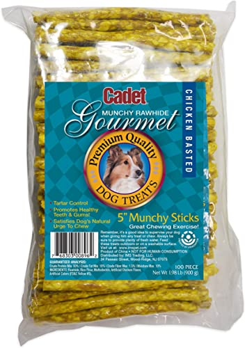 3 Packages Cadet 100-Count Munchy Chicken Stick, 5-Inch by 9-10mm